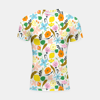 Thumbnail image of Lemon Botanicals, Chic Tropical Floral Summer Garden Colorful Illustration Lemons Tamarind Nature Shortsleeve rashguard, Live Heroes