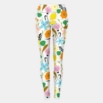 Thumbnail image of Lemon Botanicals, Chic Tropical Floral Summer Garden Colorful Illustration Lemons Tamarind Nature Leggings, Live Heroes