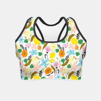 Thumbnail image of Lemon Botanicals, Chic Tropical Floral Summer Garden Colorful Illustration Lemons Tamarind Nature Crop Top, Live Heroes