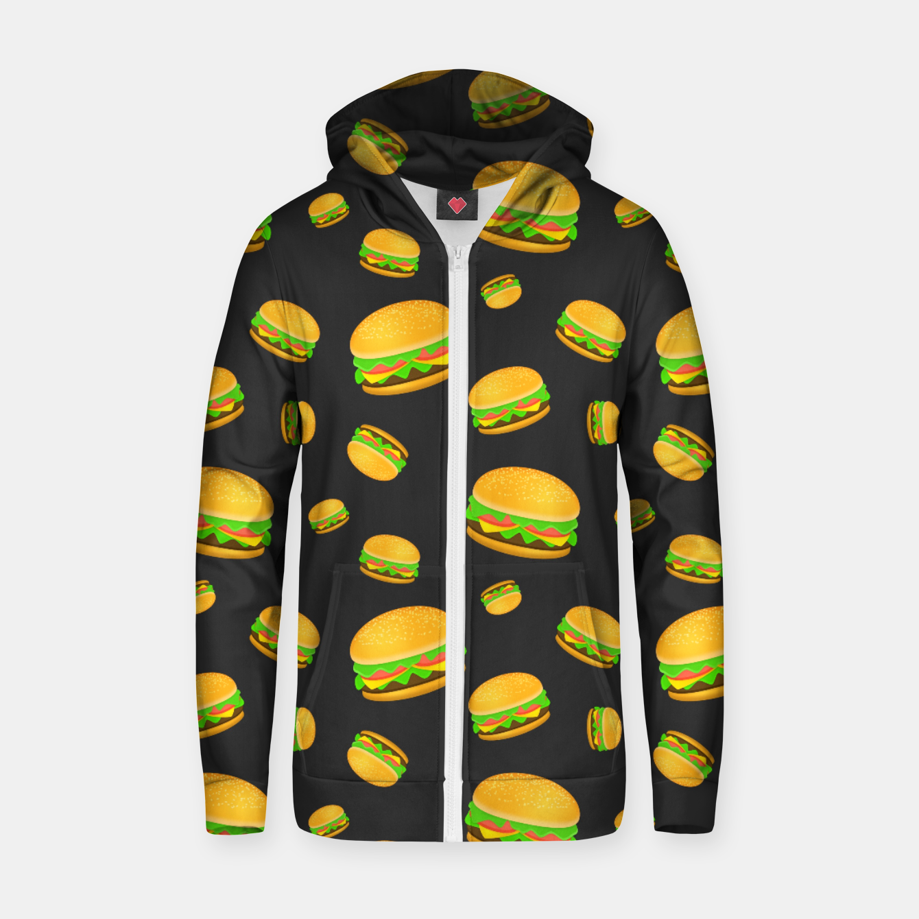 Image of Cool and fun yummy burger pattern Zip up hoodie - Live Heroes