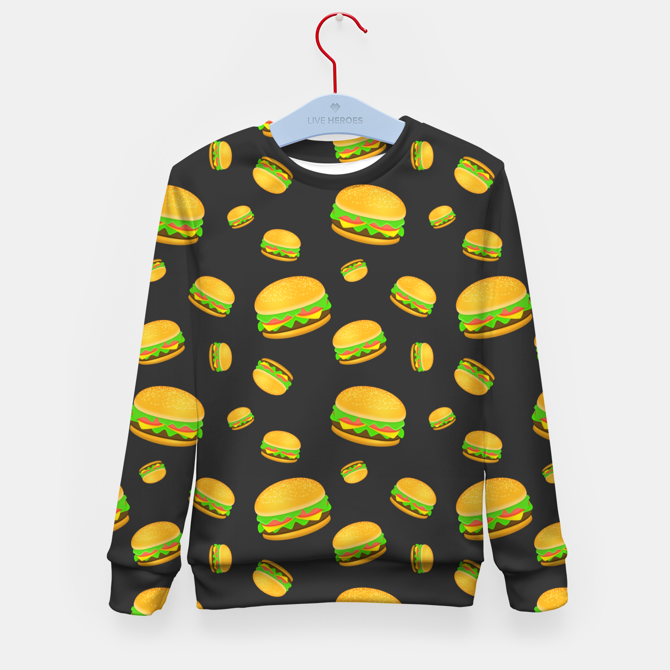 Image of Cool and fun yummy burger pattern Kid's sweater - Live Heroes