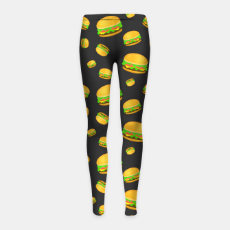 Cool and fun yummy burger pattern Girl's leggings obraz miniatury