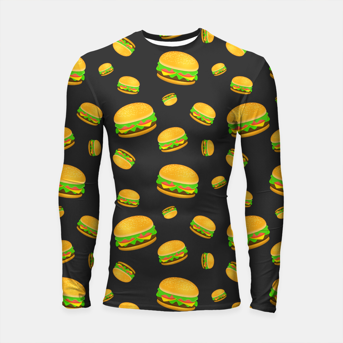 Image of Cool and fun yummy burger pattern Longsleeve rashguard  - Live Heroes