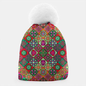 Miniatur Traditional Floral Boho Moroccan Pattern Style Beanie, Live Heroes