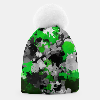 Miniaturka Green and Grey Paint Splatter Paint Splatter Pom Pom Beanie, Live Heroes