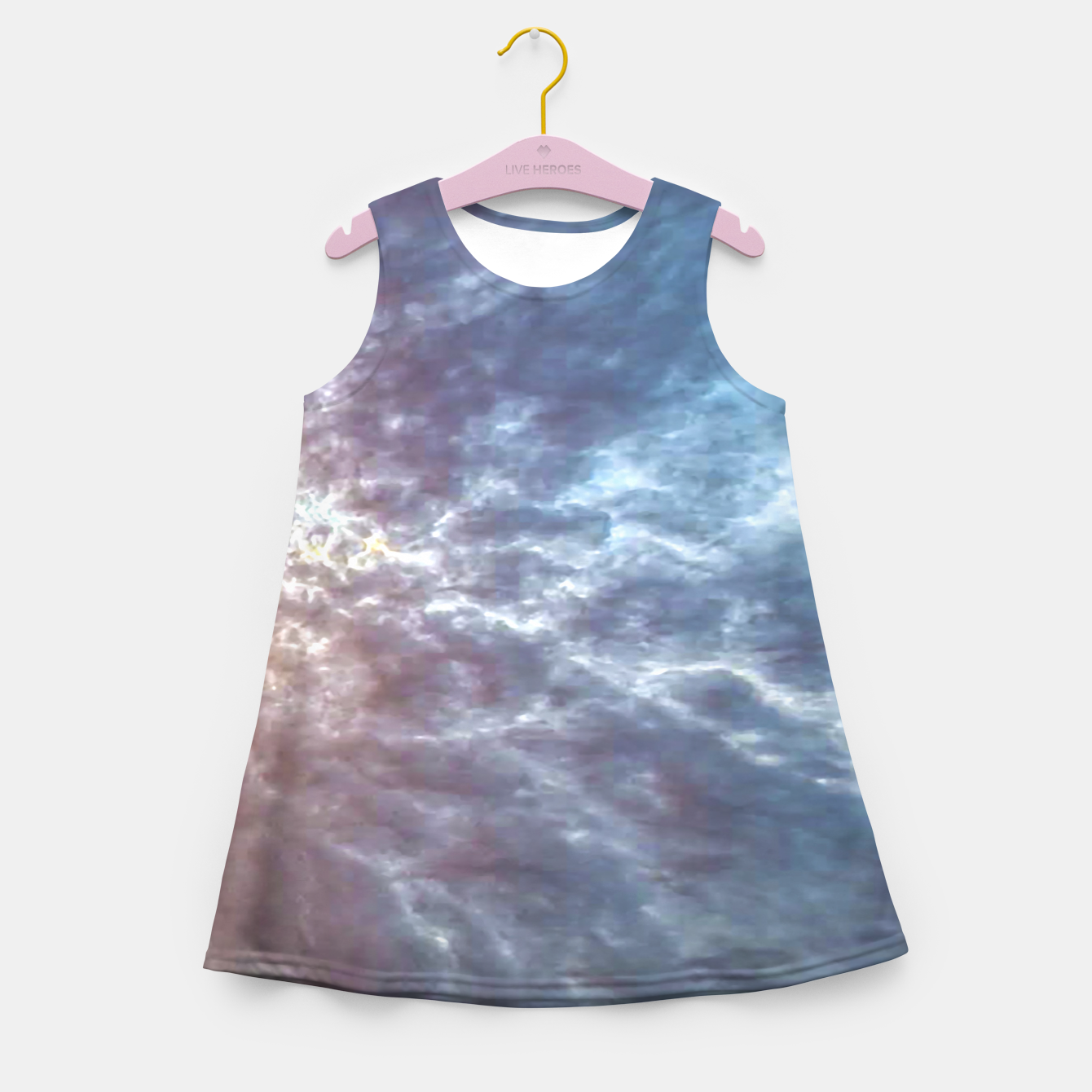 Image of Stormy Sky Abstract Print Girl's summer dress - Live Heroes