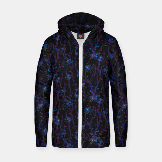 Thumbnail image of Blossoming veins of the dark neon world  Zip up hoodie, Live Heroes