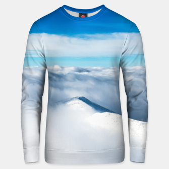 Miniaturka Snowy winter mounain wrapped in clouds Unisex sweater, Live Heroes