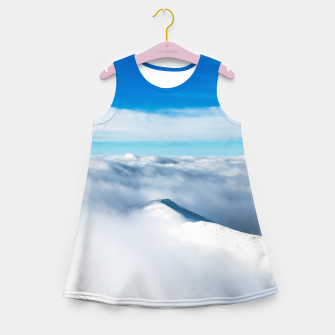 Thumbnail image of Snowy winter mounain wrapped in clouds Girl's summer dress, Live Heroes