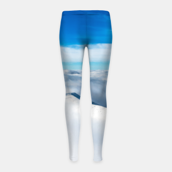 Miniatur Snowy winter mounain wrapped in clouds Girl's leggings, Live Heroes