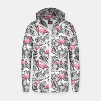 Miniatur TROPICAL LEAVES AND FLAMINGOS 2 Zip up hoodie, Live Heroes