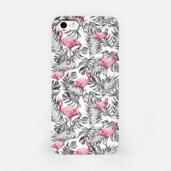 Miniatur TROPICAL LEAVES AND FLAMINGOS 2 iPhone Case, Live Heroes