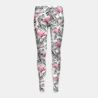 Miniatur TROPICAL LEAVES AND FLAMINGOS 2 Girl's leggings, Live Heroes