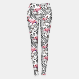 Miniatur TROPICAL LEAVES AND FLAMINGOS 2 Leggings, Live Heroes