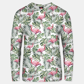 Miniatur TROPICAL LEAVES AND FLAMINGOS Unisex sweater, Live Heroes