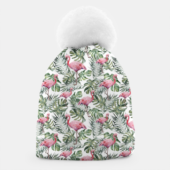 Miniatur TROPICAL LEAVES AND FLAMINGOS Beanie, Live Heroes