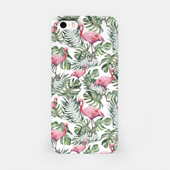Miniatur TROPICAL LEAVES AND FLAMINGOS iPhone Case, Live Heroes