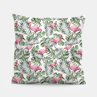 Miniatur TROPICAL LEAVES AND FLAMINGOS Pillow, Live Heroes