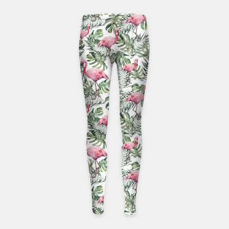 Miniatur TROPICAL LEAVES AND FLAMINGOS Girl's leggings, Live Heroes
