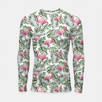 Miniatur TROPICAL LEAVES AND FLAMINGOS Longsleeve rashguard , Live Heroes