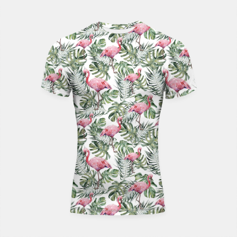 Miniatur TROPICAL LEAVES AND FLAMINGOS Shortsleeve rashguard, Live Heroes