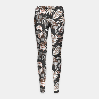 Thumbnail image of Leopards in the wild flora 41 Leggings para niña, Live Heroes
