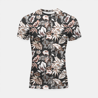 Thumbnail image of Leopards in the wild flora 41 Shortsleeve rashguard, Live Heroes