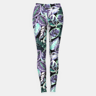 Imagen en miniatura de Tropical leaves dark blue electric Leggings, Live Heroes