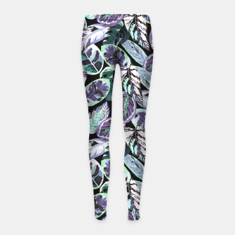 Miniatur Tropical leaves dark blue electric Leggings para niña, Live Heroes