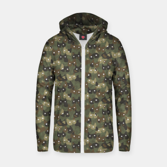 Miniature de image de Ghostly camouflaging cats are watching you in khaki Zip up hoodie, Live Heroes