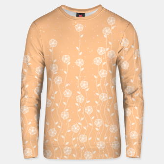 Minimal flowers, coral background, nature print, floral print, climbing spring plants Unisex sweater miniature