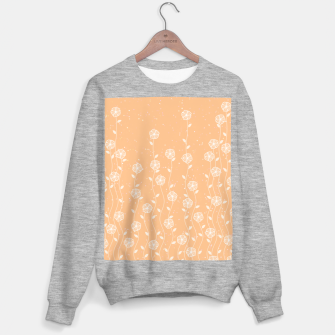 Minimal flowers, coral background, nature print, floral print, climbing spring plants Sweater regular miniature