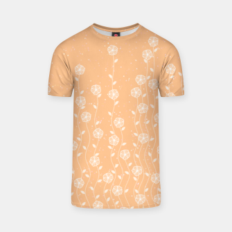 Minimal flowers, coral background, nature print, floral print, climbing spring plants T-shirt miniature