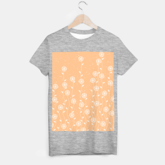 Minimal flowers, coral background, nature print, floral print, climbing spring plants T-shirt regular miniature