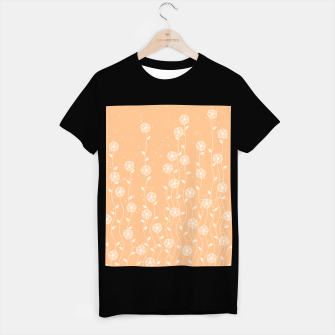 Miniature de image de Minimal flowers, coral background, nature print, floral print, climbing spring plants T-shirt regular, Live Heroes