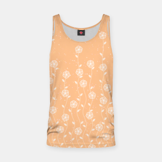 Minimal flowers, coral background, nature print, floral print, climbing spring plants Tank Top miniature