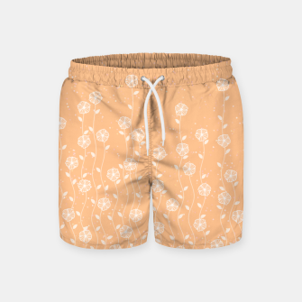 Minimal flowers, coral background, nature print, floral print, climbing spring plants Swim Shorts miniature