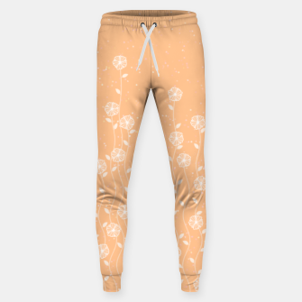Minimal flowers, coral background, nature print, floral print, climbing spring plants Sweatpants miniature
