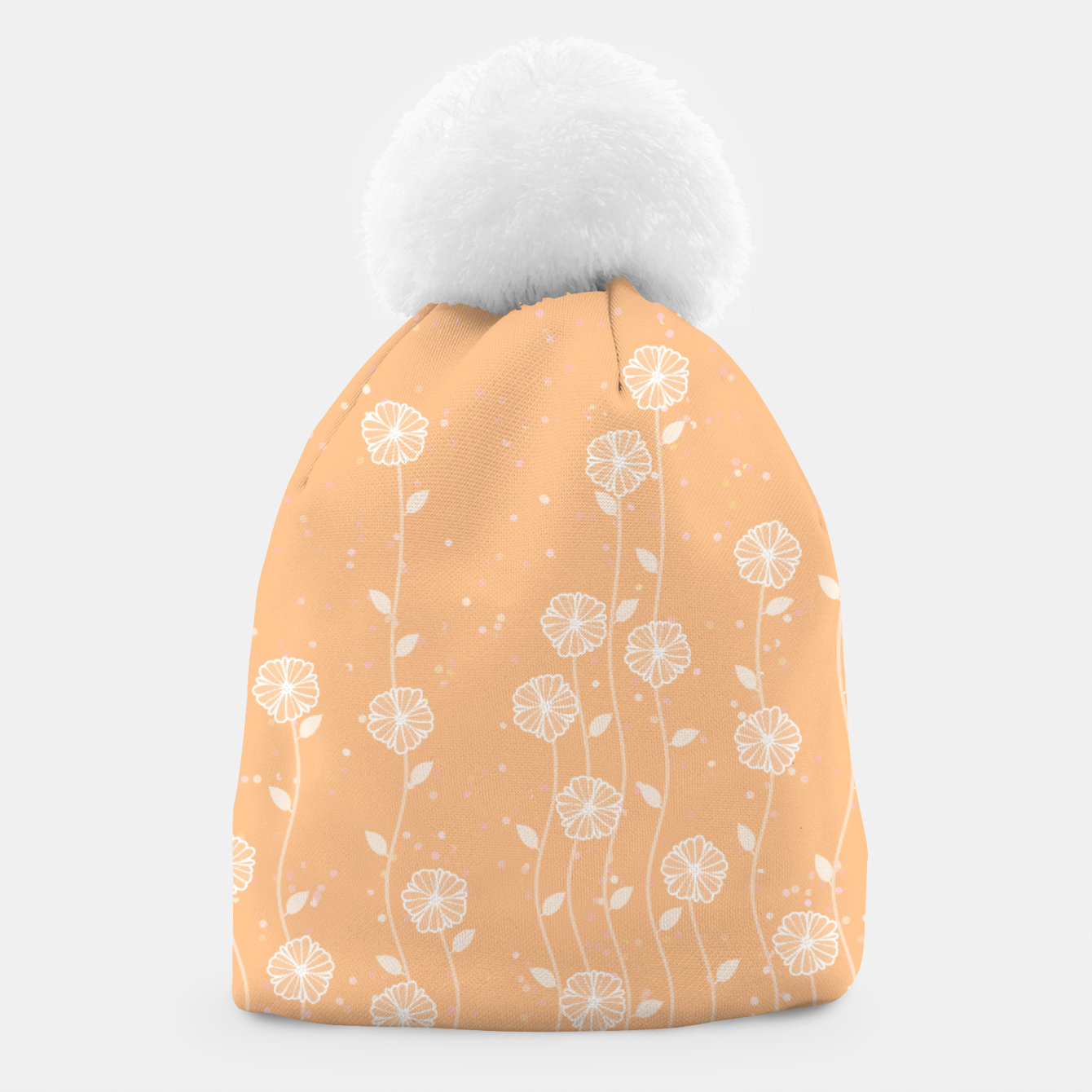 Image de Minimal flowers, coral background, nature print, floral print, climbing spring plants Beanie - Live Heroes