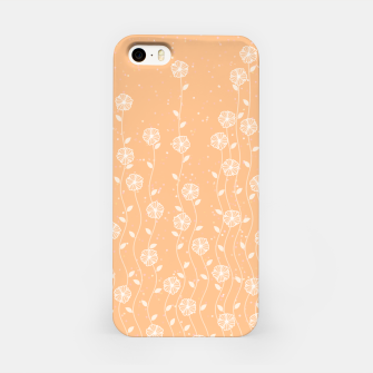 Minimal flowers, coral background, nature print, floral print, climbing spring plants iPhone Case miniature