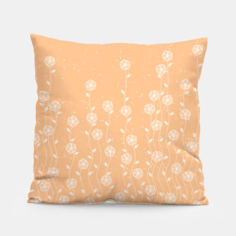 Minimal flowers, coral background, nature print, floral print, climbing spring plants Pillow miniature