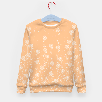 Minimal flowers, coral background, nature print, floral print, climbing spring plants Kid's sweater miniature