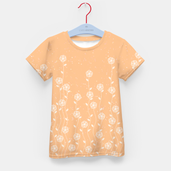 Minimal flowers, coral background, nature print, floral print, climbing spring plants Kid's t-shirt miniature