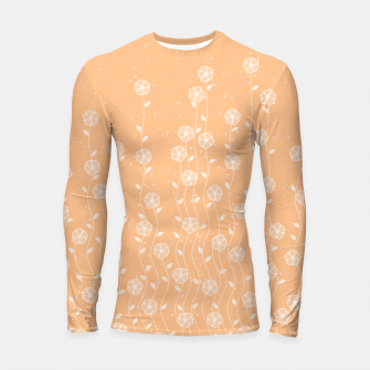 Thumbnail image of Minimal flowers, coral background, nature print, floral print, climbing spring plants Longsleeve rashguard , Live Heroes