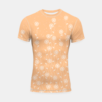 Minimal flowers, coral background, nature print, floral print, climbing spring plants Shortsleeve rashguard miniature
