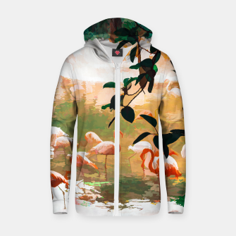 Miniaturka Flamingo Sighting, Jungle Nature Wildlife Birds Painting, Animals Forest Safari Illustration Zip up hoodie, Live Heroes
