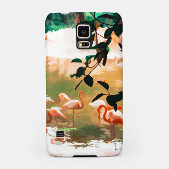 Miniaturka Flamingo Sighting, Jungle Nature Wildlife Birds Painting, Animals Forest Safari Illustration Samsung Case, Live Heroes