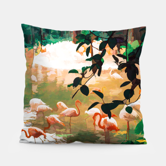 Miniaturka Flamingo Sighting, Jungle Nature Wildlife Birds Painting, Animals Forest Safari Illustration Pillow, Live Heroes