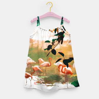 Miniaturka Flamingo Sighting, Jungle Nature Wildlife Birds Painting, Animals Forest Safari Illustration Girl's dress, Live Heroes