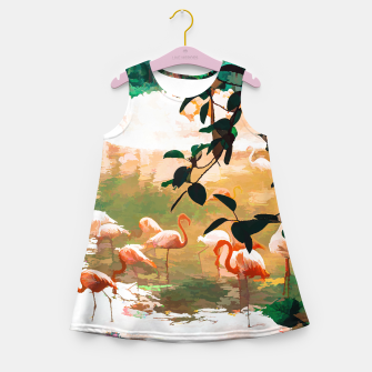 Miniaturka Flamingo Sighting, Jungle Nature Wildlife Birds Painting, Animals Forest Safari Illustration Girl's summer dress, Live Heroes